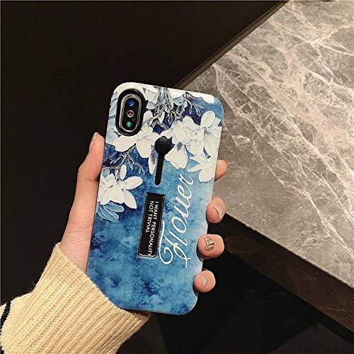 MYPPHD Handy-Fälle Weinlese-Kunst-Blumen-Telefon-Kasten für iPhone XS maximales Scheuern-Halter-Standplatz-Fall für iPhone 6s 7plus 8 Harte TPU-PC-rückseitige Abdeckung (Metall Telefon-kasten Iphone 5)
