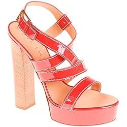 Vicini Damen Pumps Sandale Leder Rot, Schuhgröße:39