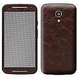 atFolix Skin kompatibel mit Motorola Moto G 2. Generation 2014, Designfolie Sticker (FX-Rugged-Leather-Brown), Grobe Leder-Struktur