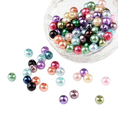 pandahall–Lot de 200Mischhaut Runde Perlen Glas Perlmutt verschiedene Farben 8mm für Herstellung von Schmuck, multicouleur-6, 0.6 cm