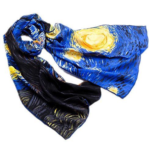 Prettystern crepe de chine soie 160cm Echarpe reproduction - Van Gogh – Nuit étoilée - two Version P514 - Nuit étoilée