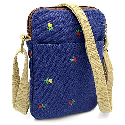 (Mopaclle Mädchen klein Bezaubernd Umhängetasche Brieftasche Geldbeutel Handy Taschen für iphone 7 Plus,Samsung Galaxy S8 Plus (blau))