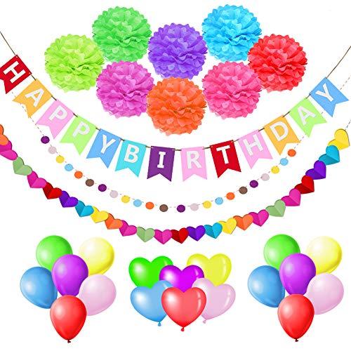 esafio Decoraciones Cumpleaños, Feliz cumpleaños Decoración Globos Garland Banderas Conjunto 41...