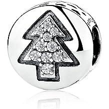 Árbol de Navidad charms 925plata de ley transparente circonitas cúbicas para pulsera Europea por chenmen joyas