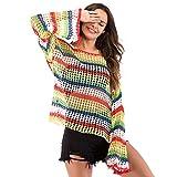 Amphia - Damen beiläufige lose Trompetenhülsenfarbe Hakenblume Hohle Bluse - Frauen beiläufige lose Aufflackernhülse Multicolor aushöhlen Bluse Cover Up Shirt