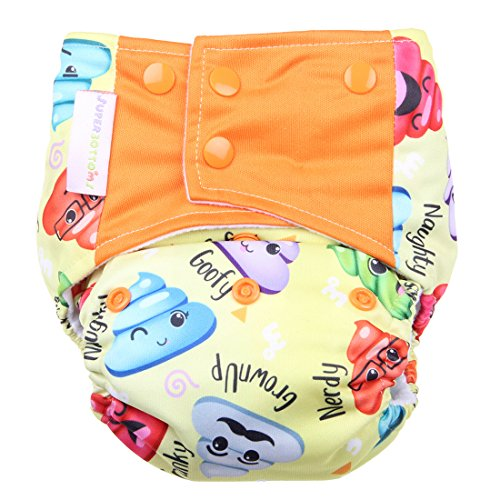 Superbottoms Cloth Diapers - SUPER TRIM Superbottoms Plus reusable all in one (AIO) cloth diaper for heavy absorbency (Poopy Face)