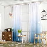 Moderner Farbverlauf Farbe Fenster Tüll Vorhang Sheer Fall Querbehang Schlafzimmer Decor, Voile, blau, Einheitsgröße