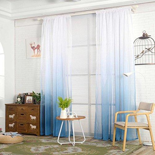 Display08-  tenda a gradazione di colore, tulle, per finestra, drappo, velata, mantovana, decorazione per stanza, blue, 39.37