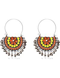 Sansar India Oxidized Afghani Chandbali Earrings for Women