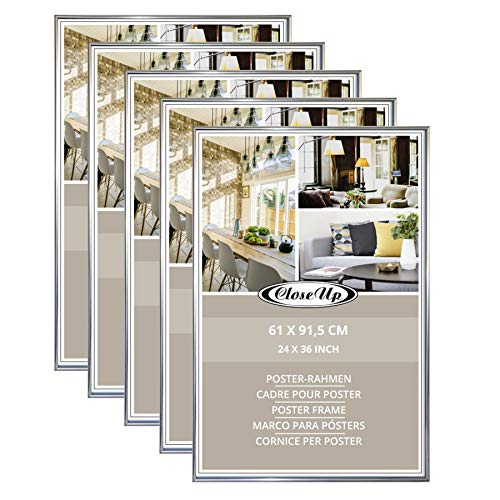 Close Up Posterrahmen-Set 5 STK. 61x91,5 cm Silber - Wechselrahmen für Maxi Poster, Qualitäts-Bilderrahmen, bruchsichere PVC-Scheibe