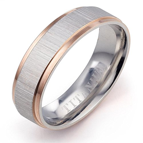 Gemini Damen-Ring Titan , Herren-Ring Titan , Freundschaftsringe , Hochzeitsringe , Eheringe, Bicolor, Breite 4mm Größe 65 (20.7)