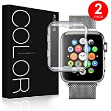 Apple Watch 38mm Funda Protector de Pantalla, G-Color, Ultra Transparente, TPU, Serie 1 2 3, [2 paquetes]