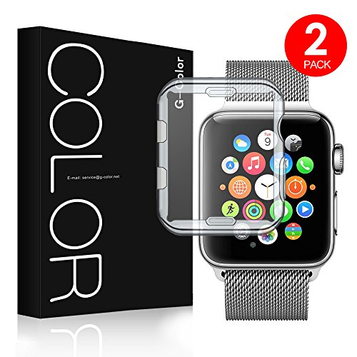 G-Color Apple Watch 38mm Funda/Protector de Pantalla,[2 Unidades], Ultra Transparente, TPU, Serie 1 2 3, Protector Pantalla para Apple Watch 38mm Hermès/Nike+ Edition