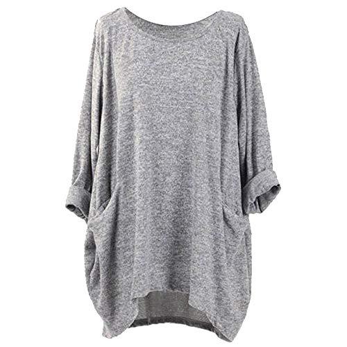 BHYDRY Lange Hülsen-O-Ansatz-Taschen-T-Shirts der Art- und Weisefrauen lösen zufällige Blusen