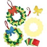 Kits de Couronnes de Noël en Papier de Soie que les Enfants pourront Confectionner et Accrocher à la Porte (Lot de 3)