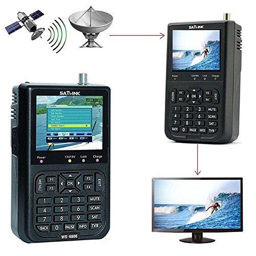 """KOBWA SATLINK WS-6906 3.5 \"""" LCD Profi Satfinder Digital Satelliten Signal Sucher Meter, HD Digital Satelliten-TV-Finder, Schwarz"""