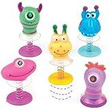 Springende Monster-Wackelköpfe - Spielzeug für Kinder als Mitgebsel und Preis beim Kindergeburtstag - 6 Stück