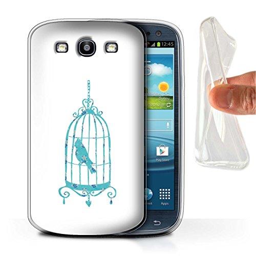 Stuff4® Gel TPU Hülle/Case für Samsung Galaxy S3/SIII/Vogelkäfig Muster/Teal Mode Kollektion (Galaxy S3 Samsung Teal Case)
