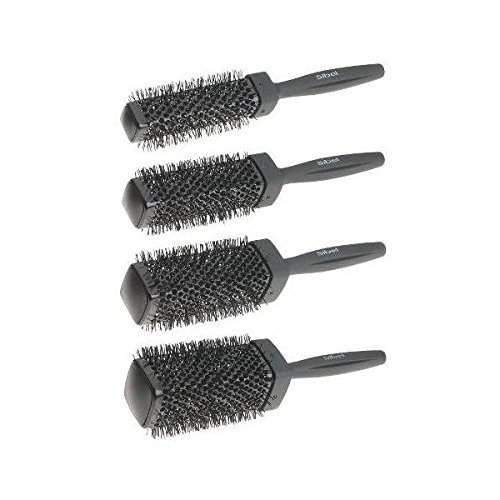 Sibel 4 Piece Heat Retaining Triangular Hair Brush Set (Black)