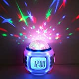 GPCT Starry Sky Projection LED Alarm Clock, Timer, & Music Player. Comes with 10 ringtones, Calendar, & Thermometer. Displays Time in 12hr and 24hr time modes - White