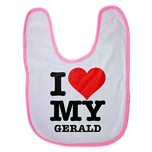 Pink baby bib with I LOVE MY GERALD