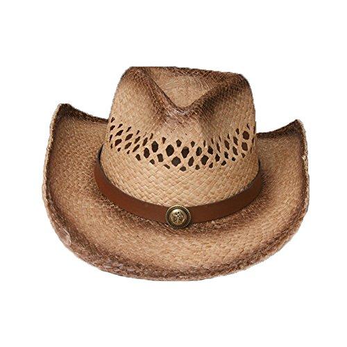 Chapeau De Paille Chapeau Cowboy De Hommes Femmes Couple Rafi Chapeau De Plage Chapeau De Soleil D'Été, Marron