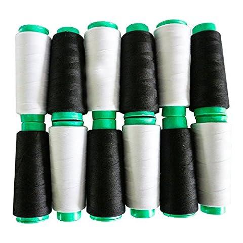 Ensemble de Fil Polyester pour Machine à Coudre par Kurtzy - 12 Bobines de Fil Blanc et Noir - 11000 Mètres de Fil au Total Idéal pour la Broderie, le Matelassage - Femmes et