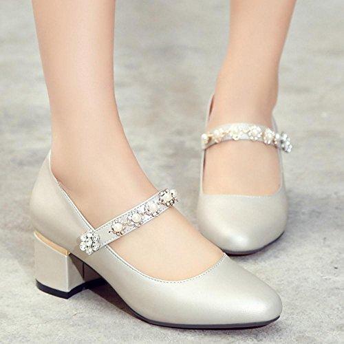 Jane Sapatos Derrapante Taoffen Sapatos Mary Vendas Calcanhar Senhoras Med Bombas Prata Semi Bloquear qv8UxqfO