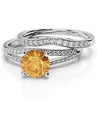 18Kt White Gold 1.59 Ct G-H/VS Certified Round Cut Diamond & Orange Citrine Bridal Set Ring AGDR-2037
