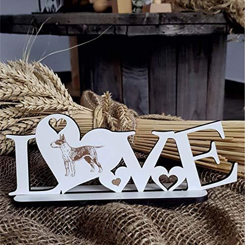 Deko Aufsteller LOVE mit Herzen und Hunde Motiv « BULLTERRIER 01 » Größe ca. 20 x 8 cm - Dekoration Schild Home Accessoires - Liebe Herz Hund Hunderasse Bull Terrier