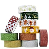 InnoBeta Washi Tape Natale Glitter, Nastri Decorativi, Nastro Adesivo Colorato, Nastro Adesivo Decorative, Bullet Journal, Scrapbooking, Carta Decorativa Fai da Te Riutilizzabile Nastro,Set di 10