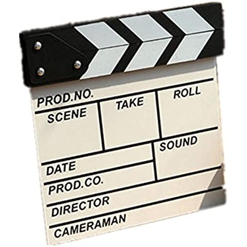 GYN Direttore Video scena Clapperboard TV Movie Clapper Board Film ardesia tagliare Prop Creative Home Bar Ornament(Black, white) , white