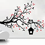 DECOR Kafe Home Decor Loving Sparrows With A Bird House Wall Sticker, Wall Sticker For Bedroom, Wall Art, Wall Poster (PVC Vinyl, 68 X 50 CM)