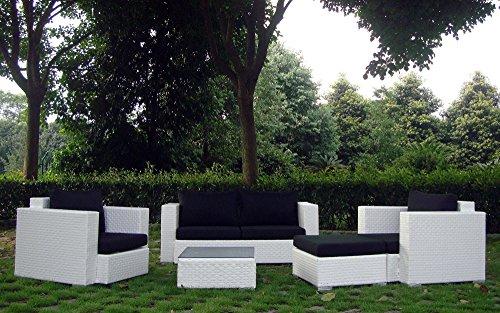 Baidani Gartenmöbel-Sets 10c00042.00002 Designer Rattan Lounge-Garnitur Calypso, 1 2-er-Sofa, 2 Sessel, 1 Hocker, 1 Couch-Tisch mit Glasplatte, braun - 3