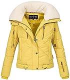 Navahoo Damen Designer Winter Jacke warme Winterjacke Steppjacke Teddyfell B605 [BB605-Zicke-Gelb-Gr.S]