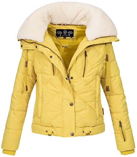 Navahoo Damen Designer Winter Jacke warme Winterjacke Steppjacke Teddyfell B605 Gelb