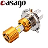 #4: Casago Head Lamp H4 LED 9W Headlight Bulb High/Low CREE LED DRL Light Bulb for Motorcycle/Bike, Scooter, Car, Truck (Golden - Pack Of 1)