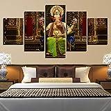 HD Wall Canvas Picture Pintura Decorativa Moderna 5 Piezas Cabeza de Elefante Indio Dios Ditorio Cuadros Decoracion Salon