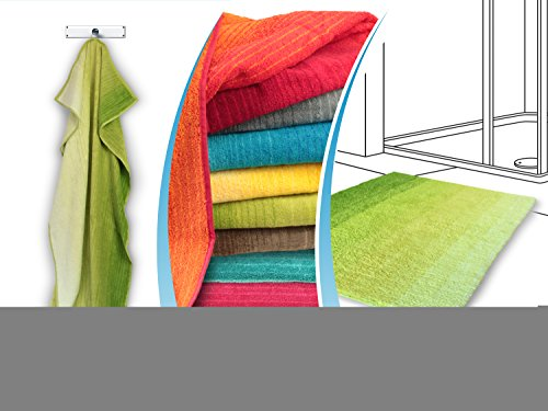 """Bio-Badezimmerserie """"Colori"""" - erhältlich als Handtuchserie und als Badteppichserie in 6 brillanten Farbkombinationen, Duschtuch 70 x 140 cm, grün (6 Moos Teppich)"""
