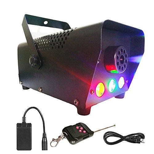 Virhuck 500-Watt Tragbare Nebelmaschine Mini mit kabelloser Fernbedienung und buntem LED Licht, Nebelmaschine Klein für Hochzeit, Party, Feiertag, Club, DJ Bar - beeindruckende Leistung. (500W) (Dj Nebelmaschine)