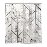 CPYang Duschvorhänge, goldene geometrische Linien, Marmor, wasserfest, schimmelresistent, für Badezimmer, Heimdekoration, 168 x 182 cm, mit 12 Haken