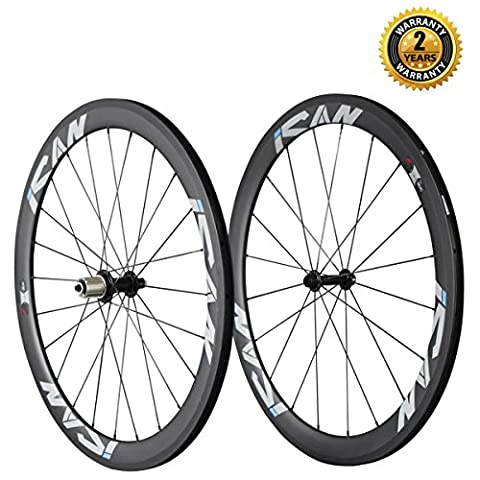 ICAN 700C Carbon Wheelset Road Bike Clincher 50mm Rim 6 Pawls Hub Only 1510g/set - 130 Mm Mozzo Posteriore