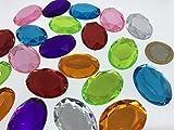 Ovale 35mm grandes multicolor reluciente piedras para coser brillantes piedras para coser (redondas acrílico Piedras gltzer piedras joyas piedras brillantes cristales decorativos para decorar de Crystal King