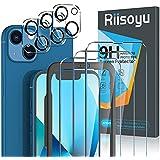 Riisoyu 6 Pièces Verre Trempé Compatible avec iPhone 13 (6.1 Pouce), 3 Pièces Film Protection écran et 3 Vitre Caméra Arrière