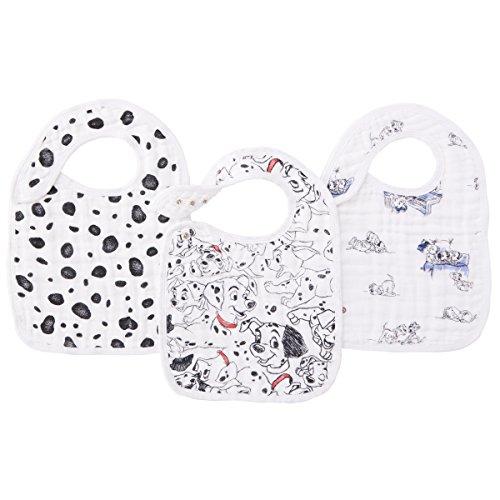 aden + anais Disney Baby 101 Dalmatiner, Lätzchen mit Druckknöpfen, Musselin aus 100% Baumwolle, 22cm X 30cm, 3er Pack