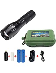 Coomatec SD-100 Kit Ultra Puissante 900 Lumens Lampe de Torche Militaire Poche LED rechargeable Zoom Flashlight 18650 Chargeur