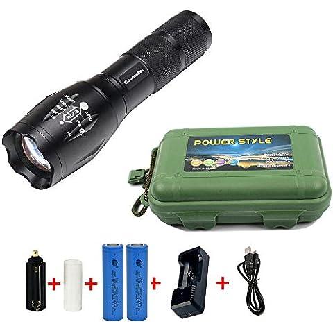 Coomatec kit de linterna LED (900LM) de Mano Resistente al Agua Ultra Brillante Flashlight de 5 Modos para Ciclismo, Camping, Montañismo, Senderismo y las actividades al aire