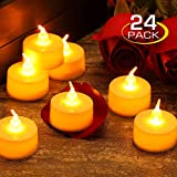 Zerproc Bougies à LED 24pcs Sans Flamme Decoration pour Table Soirée Aniversaire Mariage (blanc chaud)
