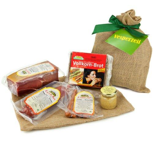 Geschenk Set Vesperzeit mit Schinken, Salami, Senf und Vollkornbrot