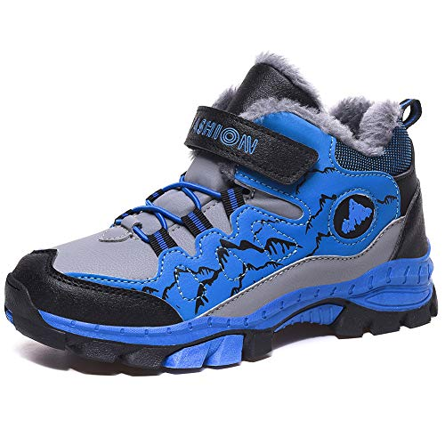 STQ Boys Walking Boots Waterproof Hiking Boots Non Slip Trekking Outdoor Winter Boots